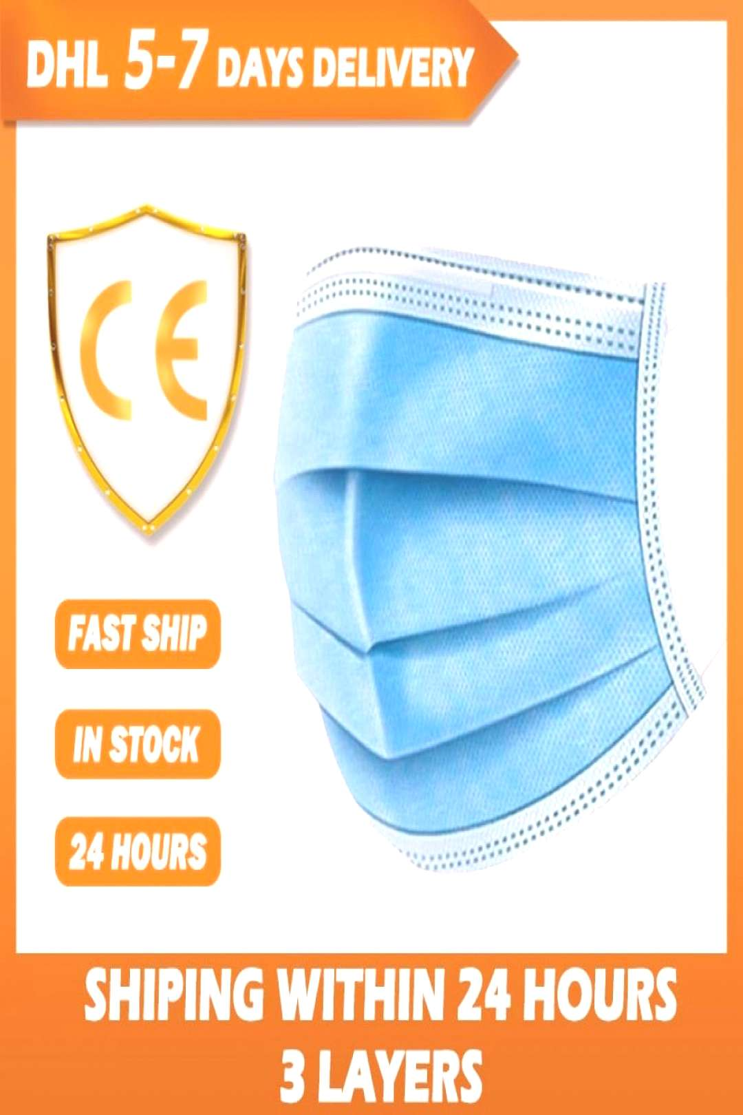 100 pcs Face Mouth Protective Mask Disposable 3 Layers Filter Earloop Non Woven Mouth Masks Shippin