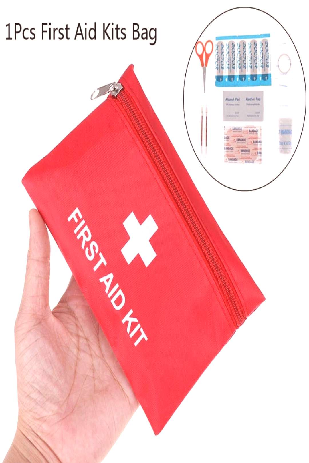 1X Portable Emergency Survival First Aid Kit Pack Travel Medical Sports Bag Case Price: $7.95   {#b