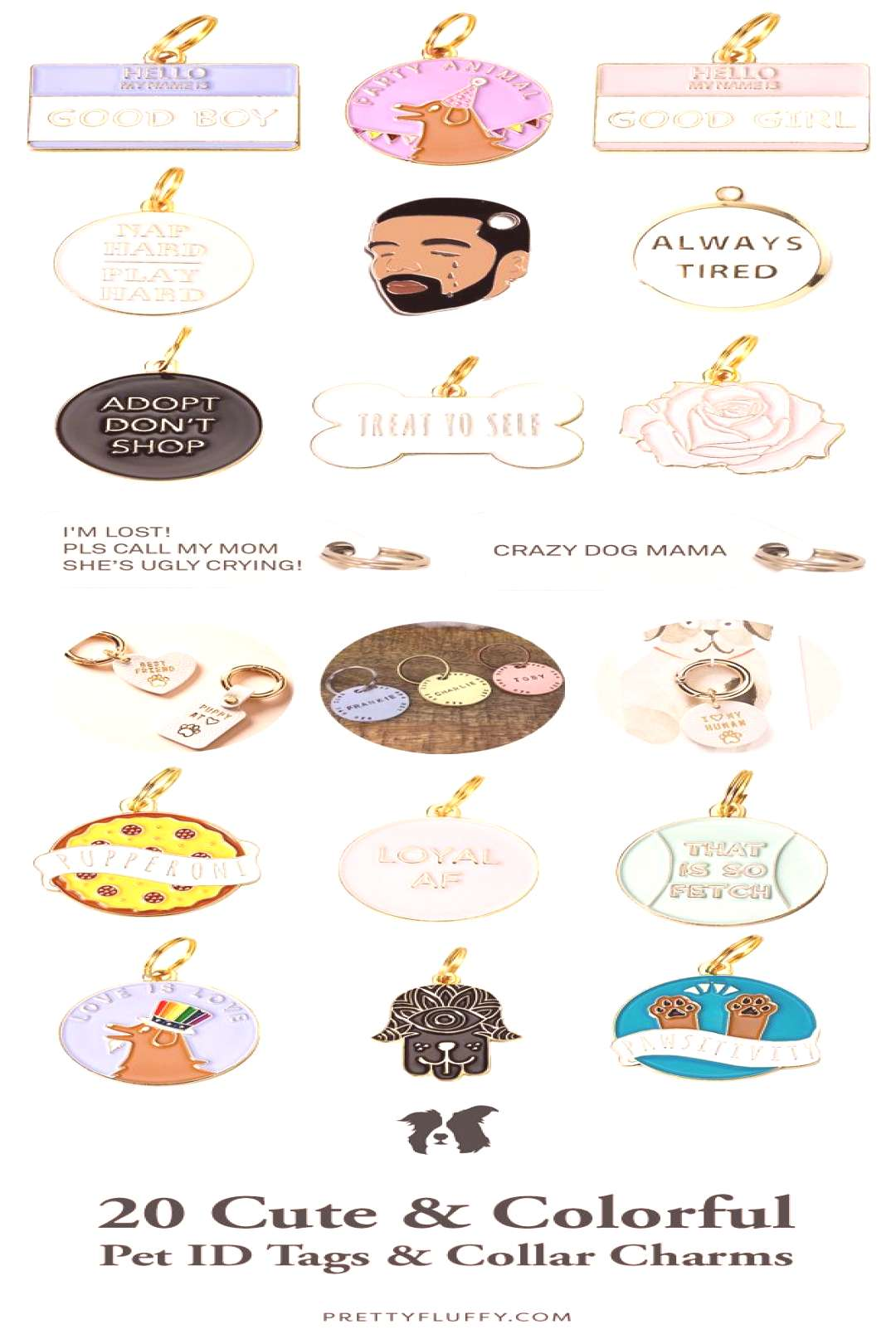 20 Cute & Colorful Pet ID Tags & Dog Collar Charms - Pretty Fluffy 20 Cute & Colorful Pet ID Tags &