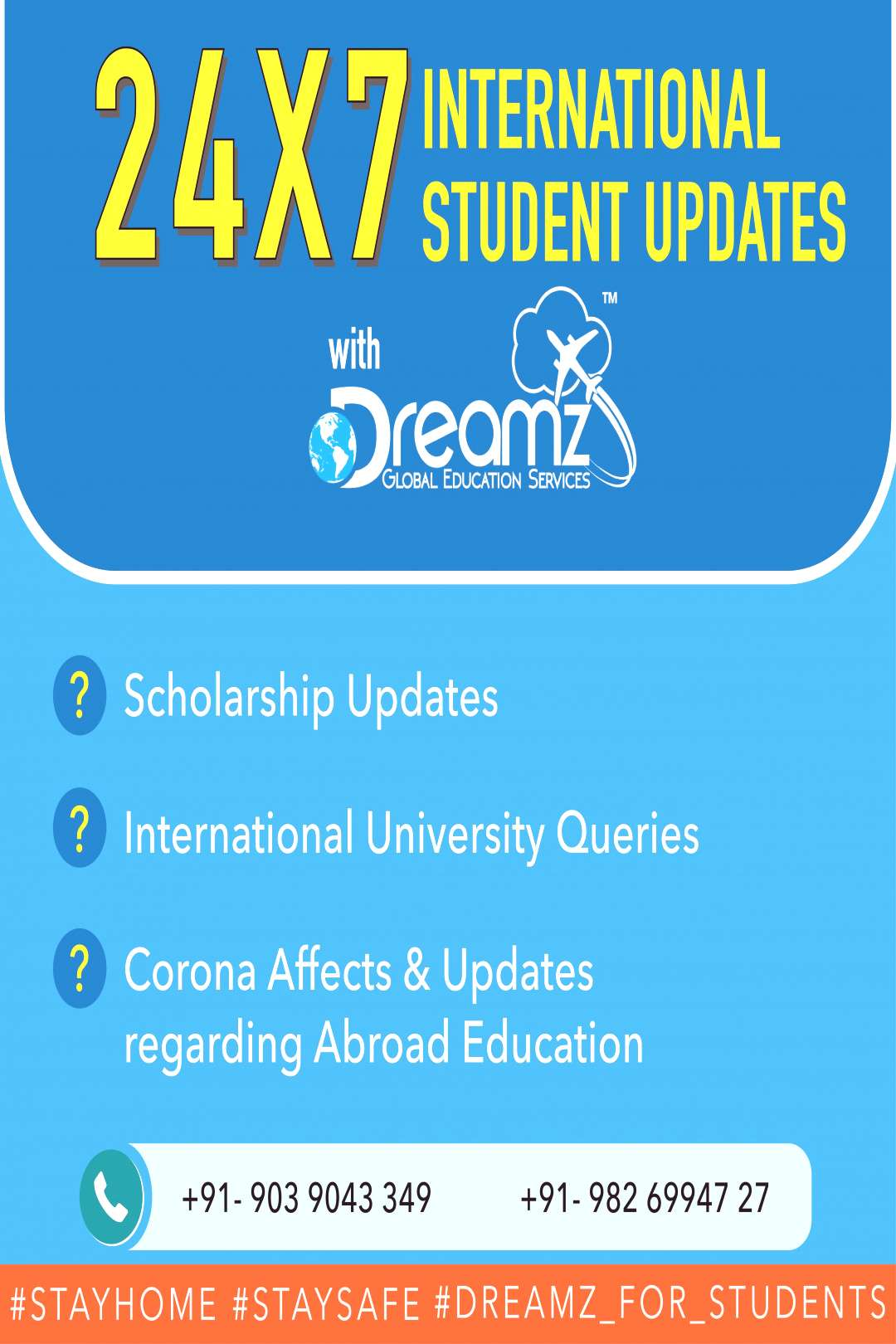 |✈️24*7 International Education Updates from Dreamz Global| .  #stayhome #cor