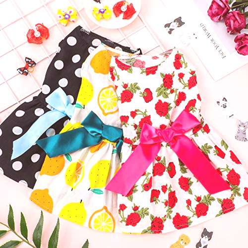 3 Pieces Dog Dress Cute Pet Clothing and 6 Pieces Dog Hair