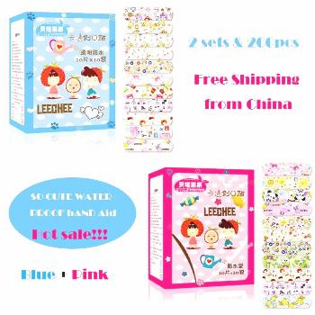 2 Sets 200PCS Waterproof Breathable Cute Cartoon Band Aid Hemostasis Adhesive Bandages First Aid Em