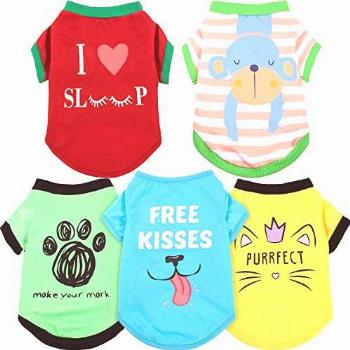 5 Pieces Printed Puppy Dog Shirts Pet Shirt Soft Breathable