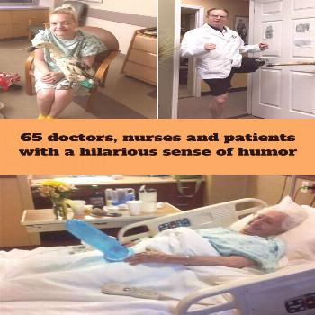 65 doctors, nurses and patients with a hilarious sense of humor  65 and with a sense of hu#mor