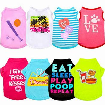 8 Pieces Printed Puppy Dog Shirts Breathable Dog Apparel