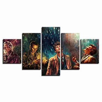 Artwcm Doctor Who,Movie Characters 5PCS Oil Paintings Modern