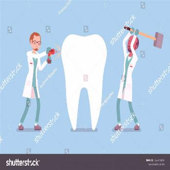 Bad dentists damaging giant healthy tooth. Unqualified practitioners doctors of harmful stomatology