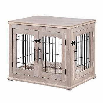 beeNbarks Pet Crate End Table, Double Doors Wooden Wire Dog