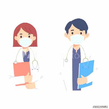 character of young women and men as doctors, character vector illustration of the profession of doc