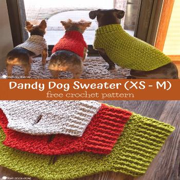 Dandy Dog Sweater: Easy Crochet Dog Sweater Pattern This dog sweater pattern comes in three sizes t