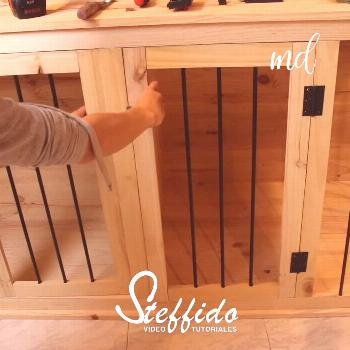 DIY WOODEN DOG CRATE Now, your dogs will have a comfortable wooden crate to nap in. ??