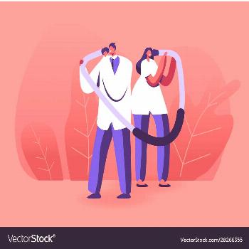 Doctors characters hold huge stethoscope temples Vector Image ,