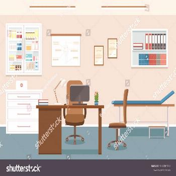 Doctors Consultation Room Interior Clinic Empty Stock Vector (Royalty Free) 1033287148  Doctor's
