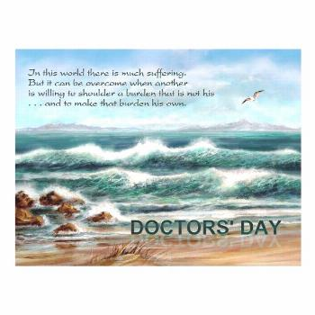 Doctors' Day Thank You to Doctor Blue Seascape Postcard