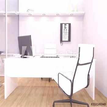 Doctors office in clinic interior with snellen eye chart, desk, chairs and computer screen. 3D rend