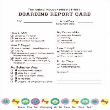 Dog Boarding Report Card Template New Doggy Report Card Future Kennels Pinterest