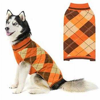 Dog Sweater Pet Knitted Clothes - Classic Plaid Pull Over