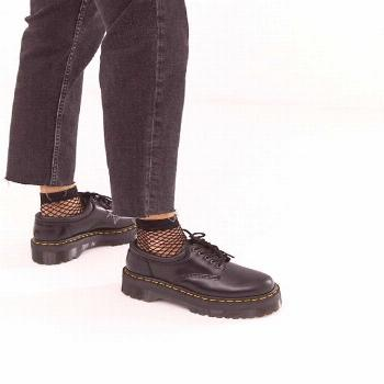 Dr Martens Quad 5 tie stacked leather flat shoes in black | ASOS
