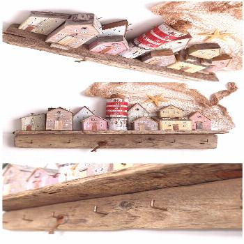Driftwood Wall Art, Key Holder for Wall, Lighthouse decor, Little Houses Driftwood