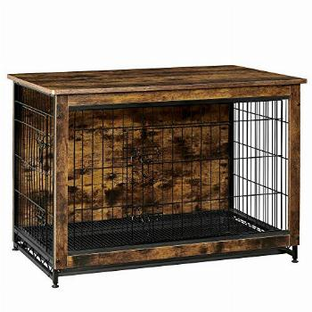 FEANDREA Wooden Dog Crate, Indoor Pet Crate End Table, Dog