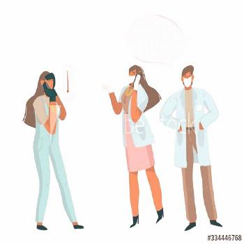 Hand drawn vector stock abstract graphic illustration with doctors who talk on the phone with an in