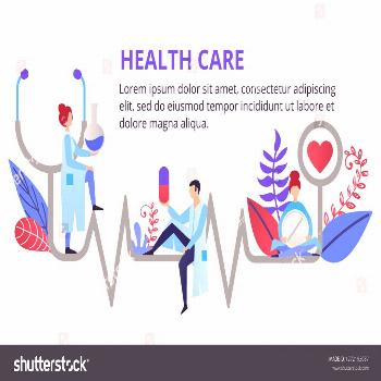 Health care, stethoscope, cardiogram, health monitoring with doctors. Modern flat design concepts f