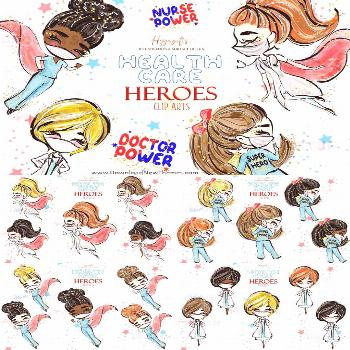 Healthcare heroes cliparts Healthcare heroes clip arts, nurse with cape,doctor with cape,nurse and