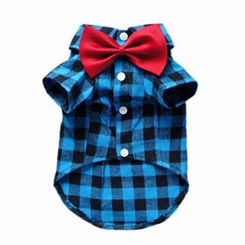 HOODDEAL Soft Casual Dog Plaid Shirt Blue and Black Gentle
