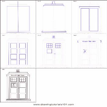 How to Draw Tardis from Doctor Who printable step by step drawing sheet :