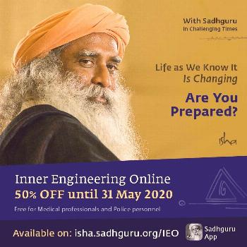 Inner Engineering Online At 50% off, an offering from Isha Foundation during challenging times.