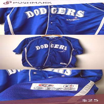 Los Angeles Dodgers Baseball Jersey See last picture: there is pulling of the fabric and stained on