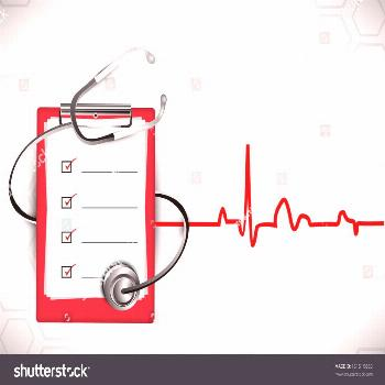 Medical background with stethoscope and doctors prescription pad on heartbeat symbol background. ,