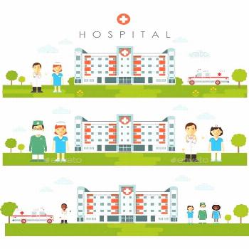 Medical Backgrounds with Hospital Building and Doctors