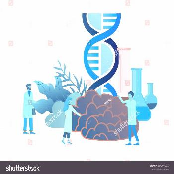 Neurology genetics concept. Flat style little people doctors medical team working, constructing DNA