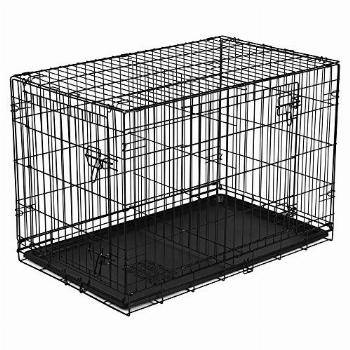 New Vibrant-Life Double-Door Folding Wire Dog Crate with