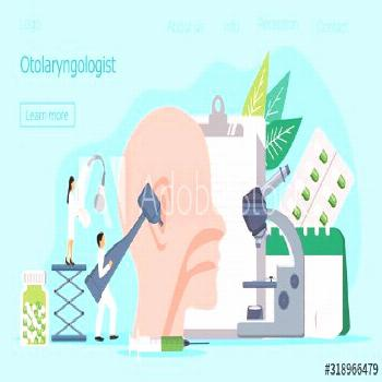Otolaryngologist vector web template for landing page, header. Tiny doctors treat and exemine patie