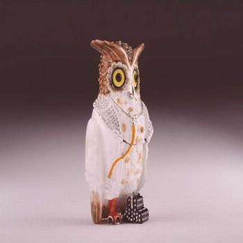 Owl Doctor Trinket Box Enamel Painted Trinket Box Decorated with Austrian CrystalsItem Size:Centime
