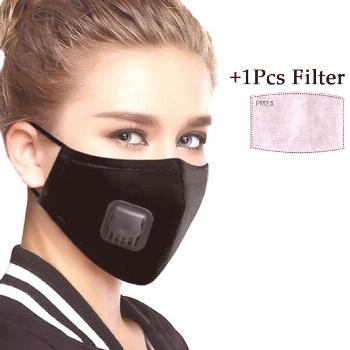 PM2.5 Filter Face Mask Washable Mouth Masks With Breathing Valve Activated Carbon Filter Insert Res