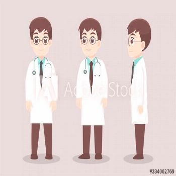 Set of Doctors Character, Health care concept. character pose front side turn around. ,