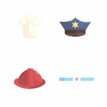 Set of police, fireman, chef and doctors hats on an white background Illustration ,