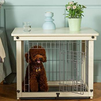 Simply Plus Wood & Wire Dog Crate with Slide Tray and