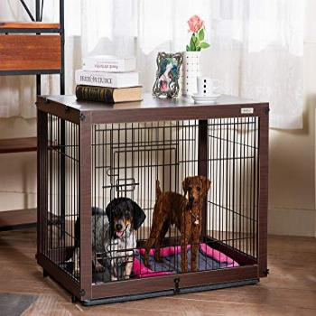 SIMPLY + Wood & Wire Dog Crate, Pet Crate End Table, Wooden