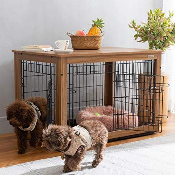 SIMPLY+ Wooden Dog Crate with Slide Tray, Wooden Wire Dog
