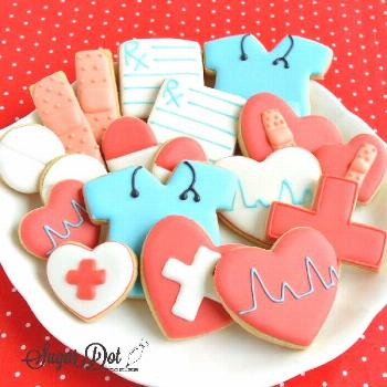 Sugar Dot Cookies: Sugar Cookies with Royal Icing for Doctors and Nurses -