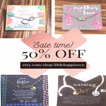 Take 50% OFF our entire shop today through Easter! Find gifts for Mother's Day, birthdays, best fri
