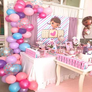 The dessert table at this Doc McStuffins birthday party is stunning! See more party ideas and share