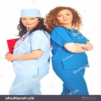 Two friendly doctors women standing back to back isolated on white background ,