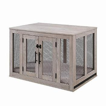 unipaws Furniture Style Dog Crate with Cushion and Tray,