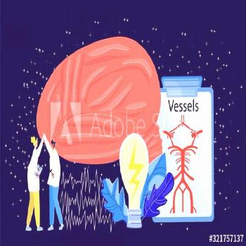 Vector illustration with abstract image brain, blood vessels, two doctors giving five, ideas in for