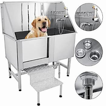 VEVOR 62 inch Professional Dog Grooming Tub Stainless Steel